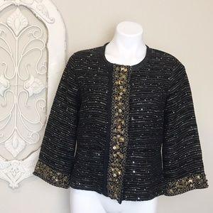 berek   Neiman Marcus Black Bead Tweed Jacket M